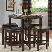 Homelegance Brussel Li 5 Piece Counter Height Dinette Set in Cherry