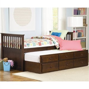 Trent Home Zachary Twin Captain's Bed with Trundle in Espresso