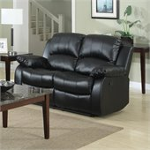 Homelegance Cranley Double Reclining Bonded Leather Love Seat in Black
