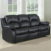 Homelegance Cranley Double Reclining Bonded Leather Sofa in Black