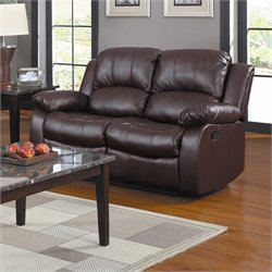 Trent Home Cranley Double Reclining Leather Love Seat in Brown