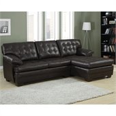 Homelegance Brooks Bonded Leather 2 Pc Sectional Set in Rich Dark Brown
