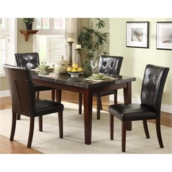 Trent Home Decatur Marble Tabletop Dining Table in Espresso