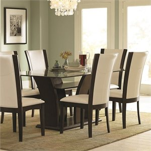 Trent Home Daisy Rectangular Glass Top Dining Table in Espresso