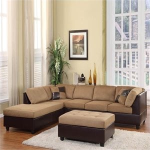 Trent Home Comfort Living Vinyl Microfiber Sectional Sofa in Brown