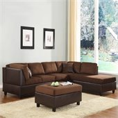 Homelegance Comfort Living Sectional Sofa in Chocolate/Dark Brown