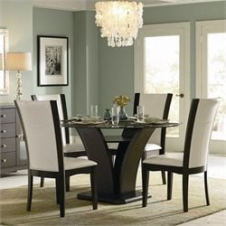 Homelegance Daisy Round Glass Dining Table in Espresso Finish