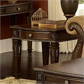 Homelegance Palace End Table in Rich Brown