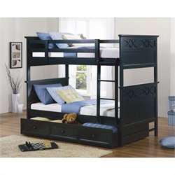 Trent Home Sanibel Twin over Twin Bunk Bed in Black