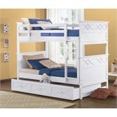 Homelegance Sanibel Twin Over Twin Bunk Bed in White