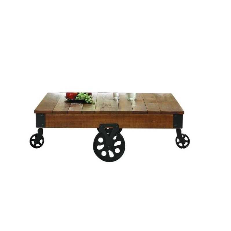 Trent Home Factory Coffee Table Cart in Rustic Brown