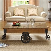Homelegance Factory Cocktail Table in Rustic Brown