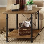 Homelegance Factory End Table in Rustic Brown