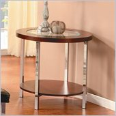 Homelegance Maine Chrome Legs End Table in Brown