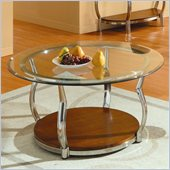 Homelegance Wells Glass Top Chrome Legs Cocktail Table 