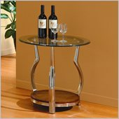 Homelegance Wells Glass Top Chrome Legs End Table w/ Cherry Shelf