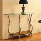 Homelegance Wells Glass Top Chrome Legs Sofa Table w/ Cherry Shelf