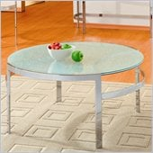 Homelegance Sangster Glass Top Round Cocktail Table w/ Chrome Framing