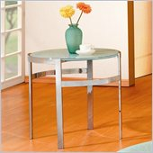Homelegance Sangster Glass Top Round End Table w/ Chrome Framing