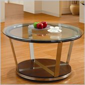 Homelegance Dunham Beveled Glass Top Cocktail Table in Medium Brown