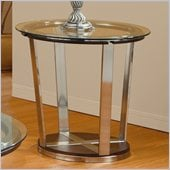 Homelegance Dunham Beveled Glass Top End Table in Medium Brown