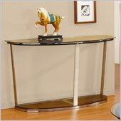 Homelegance Dunham Beveled Glass Top Sofa Table in Medium Brown