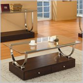 Homelegance Quigley Glass Top Cocktail Table w/ U-Shaped Chrome Frame