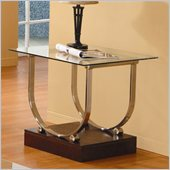 Homelegance Quigley Glass Top End Table w/ U-Shaped Chrome Framing