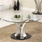 Homelegance Charlaine Glass Top Round Cocktail Table w/ Black Base