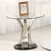Homelegance Charlaine Glass Top Round End Table w/ Black Base
