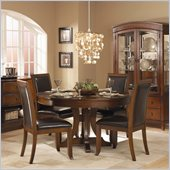 Homelegance Avalon 5 Piece 54 Round Pedestal Cherry Dining Table Set