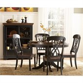 Homelegance Ohana 5 Piece Round Dining Table Set in Black/Warm Cherry