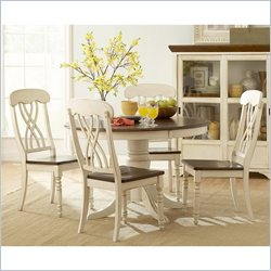 Homelegance Ohana 5 Piece Round Dining Table Set in White and Cherry