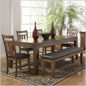 Homelegance Kirtland 6 Piece Dining Table Set in Warm Oak