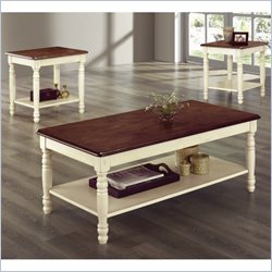 Homelegance Ohana 3 Piece Occasional Table Set in White and Cherry