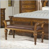 Homelegance Golden Eagle Bench in Antique Caramel
