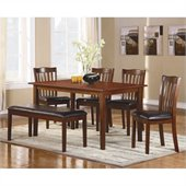 Homelegance Schaffer 6 Piece Dinning Table Set in Espresso