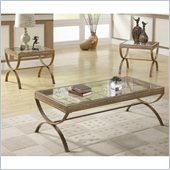 Homelegance Claro 3 Piece Occasional Table Set in Gold