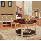 Homelegance P. Allred 3 Piece Occasional Table Set in Brown Cherry