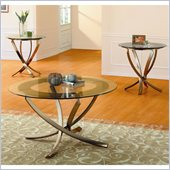 Homelegance Wylie 3 Piece Glass Top Occasional Table Set in Medium Oak