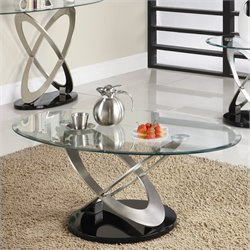 Homelegance Firth Cocktail Table in Chrome and Espresso