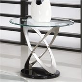 Homelegance Firth Glass Top End Table iin Chrome Black