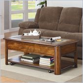 Homelegance Mcmillen Coffee Table Set in Burnish Oak