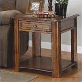 Homelegance Mcmillen End Table with Drawer in Burnish Oak