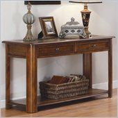 Homelegance Mcmillen Sofa Table Set in Burnish Oak