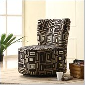 Homelegance Easton Swivel Lounge Chair in Brown Geometric Patter