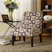 Homelegance Lifestyle Armless Accent Chair in Blue Geometric Pattern