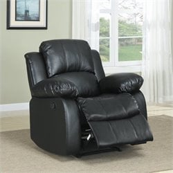 Trent Home Cranley Leather Match Recliner Chair in Black