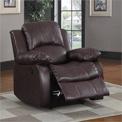 Trent Home Cranley Leather Match Recliner Chair in Brown
