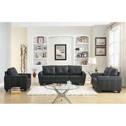 Trent Home Dwyer 3 Piece Sofa Set in  Black Vinyl